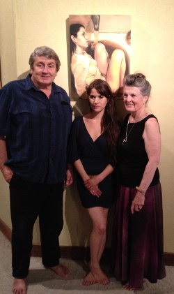 Grace Grafton (right), publisher John Peterson (left) and cover artist Brianna Johnson Smeds
